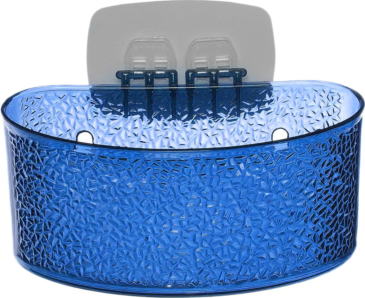 Полка для ванной комнаты Fresh Code, на липкой основе, цвет: синий, 19 х 10 х 10 см тумба с раковиной iddis calipso cal80w0i95k