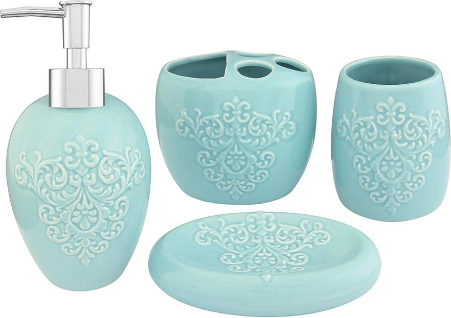 """Набор для ванной комнаты Elan Gallery """"Узор"""", цвет: бирюзовый, 4 предмета"""