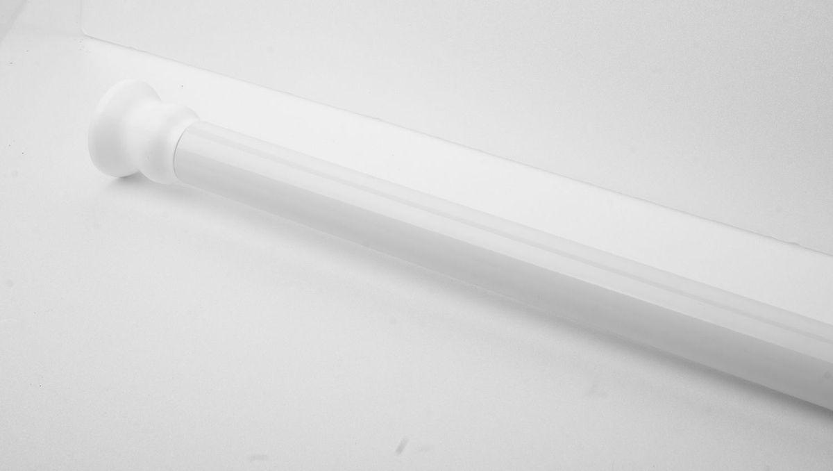 Штанга для ванной комнаты Ridder, телескопическая, цвет: белый, диаметр 2,5 см, длина 110-245 см