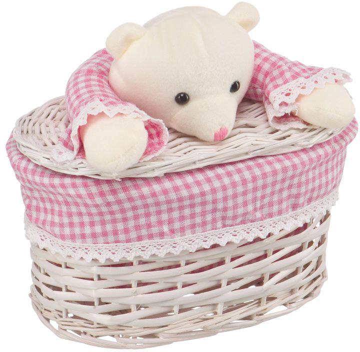 Корзина для белья Natural House Медвежонок, цвет: молочный, розовый, 26 x 15 x 16 см корзина для белья natural house медвежонок 33 21 28 см