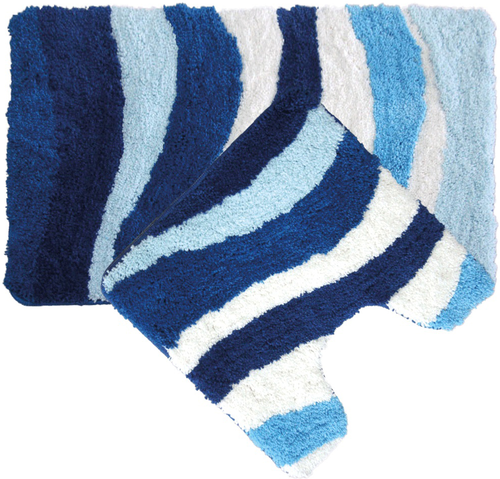 "Набор ковриков для ванной Iddis ""Blue Wave"", цвет: синий, 50 х 80 см, 50 х 50 см, 2 шт"
