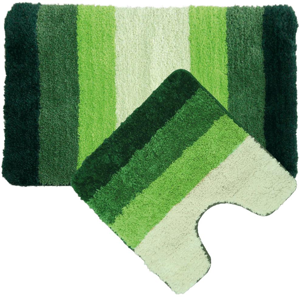 """Набор ковриков для ванной Iddis """"Green Gradiente"""", цвет: зеленый, 50 х 80 см, 50 х 50 см, 2 шт"""