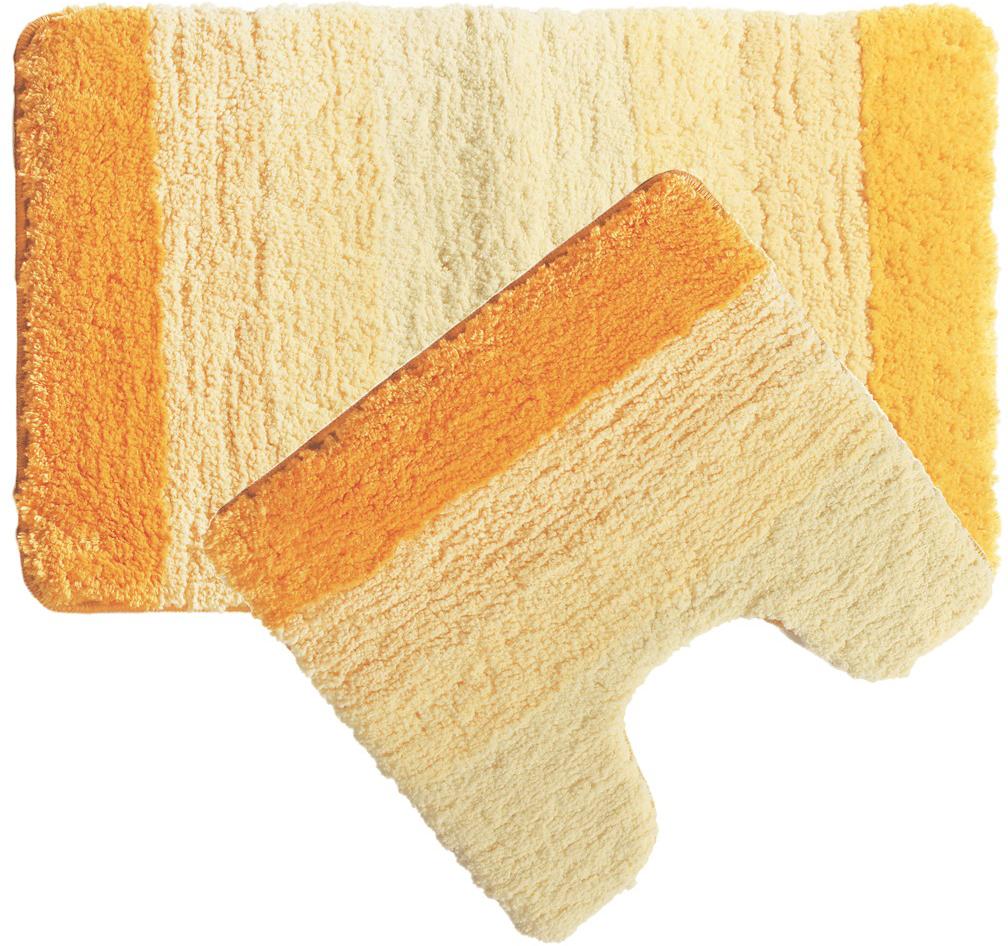 Набор ковриков для ванной Iddis Yellow Gradiente, цвет: оранжевый, 50 х 80 см, 50 х 50 см, 2 шт набор ковриков для ванной iddis beige landscape цвет бежевый 60 х 90 см 50 х 50 см 2 шт