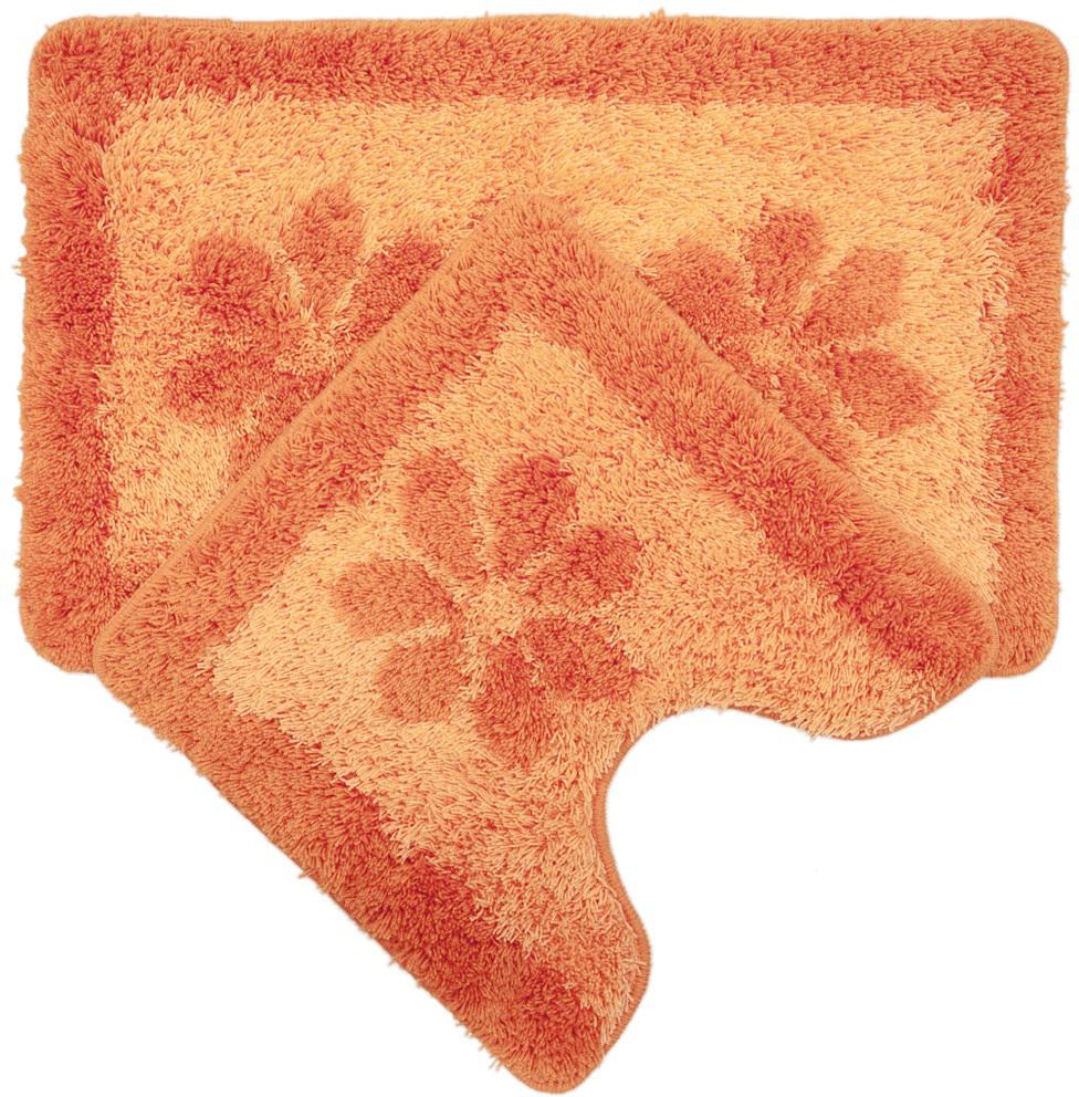 "Набор ковриков для ванной Iddis ""Paloma Art"", цвет: оранжевый, 50 х 80 см, 50 х 50 см, 2 шт"
