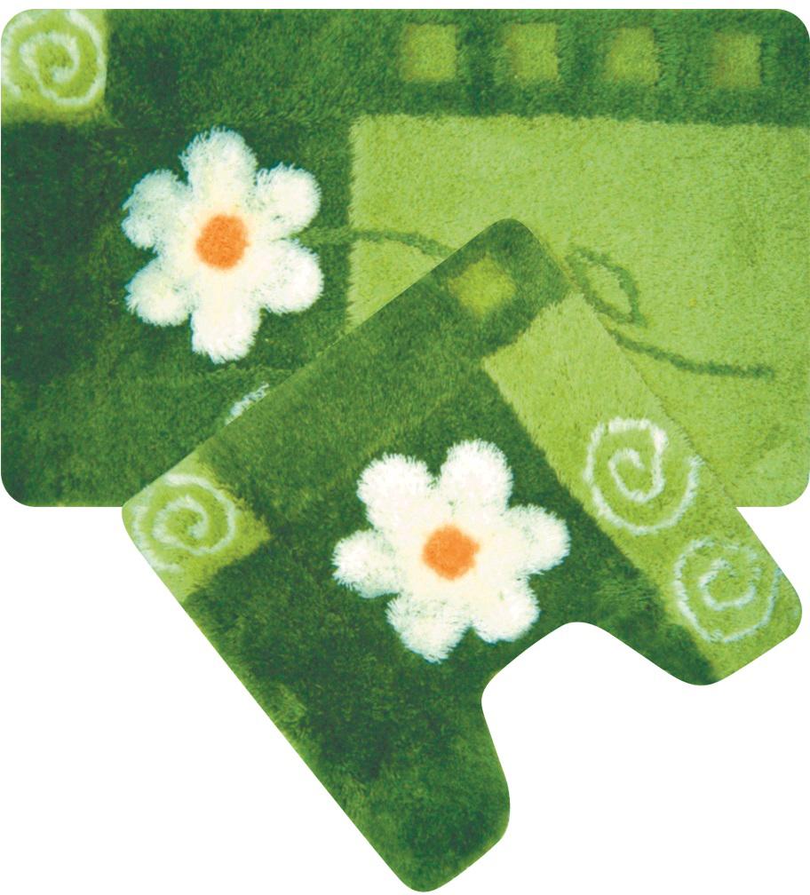 Набор ковриков для ванной Iddis Set Acrylic, цвет: зеленый, 50 х 80 см, 50 х 50 см, 2 шт набор ковриков для ванной iddis beige landscape цвет бежевый 60 х 90 см 50 х 50 см 2 шт