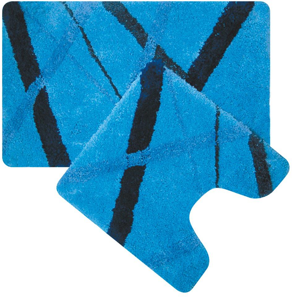 """Набор ковриков для ванной Iddis """"Blue Rain"""", цвет: синий, 50 х 80 см, 50 х 50 см, 2 шт"""