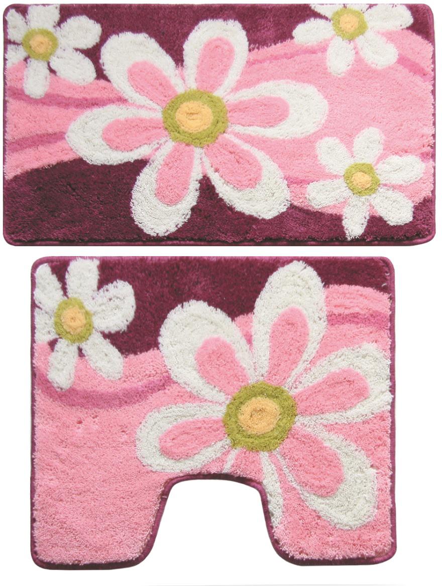"""Комплект ковриков для ванной Milardo """"Merry Camomile"""", цвет: розовый, 2 шт"""
