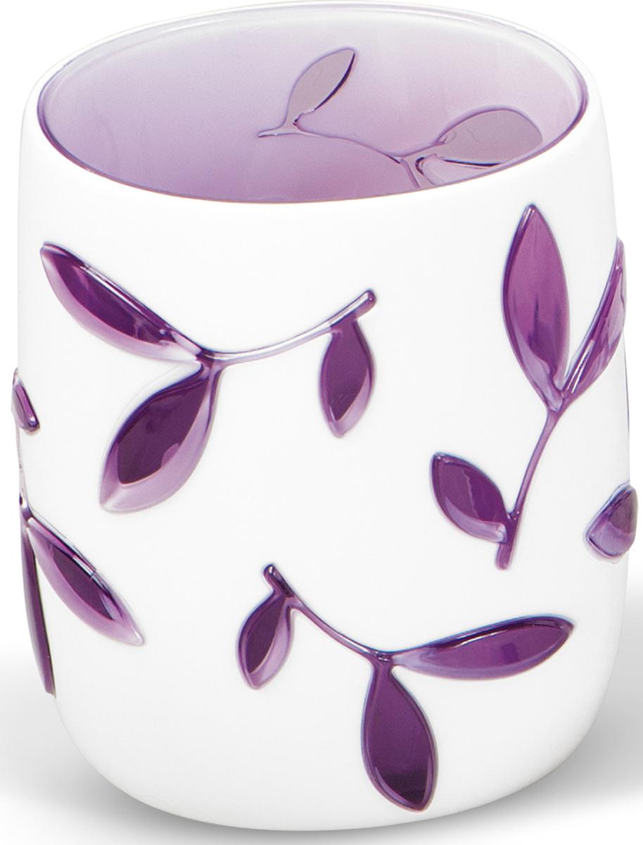 Стакан для ванной комнаты Tatkraft Immanuel Olive Violet, цвет: белый, фиолетовый стакан для зубных щеток tatkraft immanuel olive цвет серый коричневый