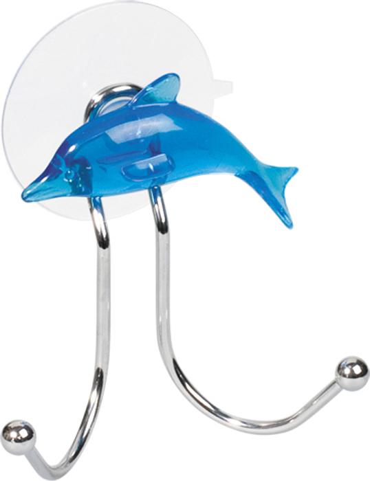 "Крючок двойной Tatkraft ""Dolphin Blue"", на присоске, 9,5 см х 6 см х 9 см"