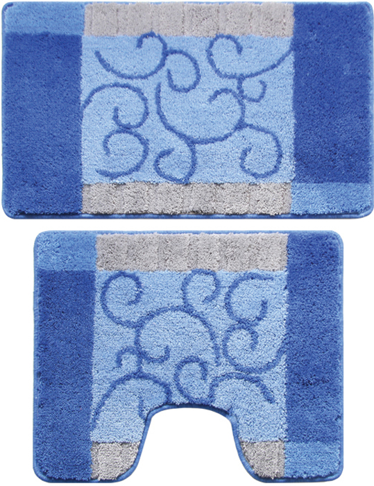 Набор ковриков для ванной комнаты, 50х80 + 50х50 см, полиэстер-акрил, Fine Lace, Milardo, 350PA68M13