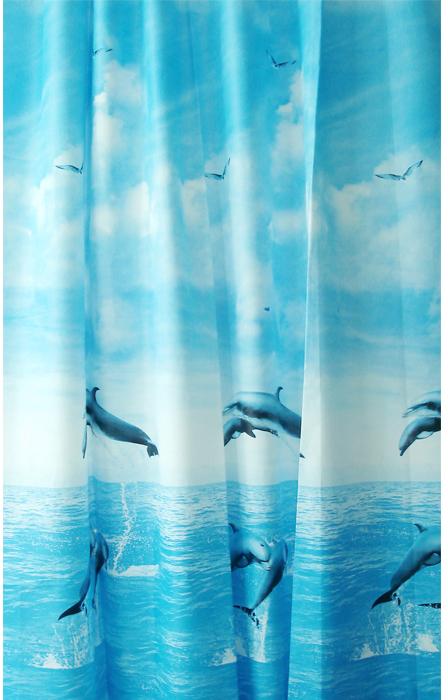 """Штора для ванной комнаты Milardo """"Dolphins"""", 180 х 180 см 519V180M11"""