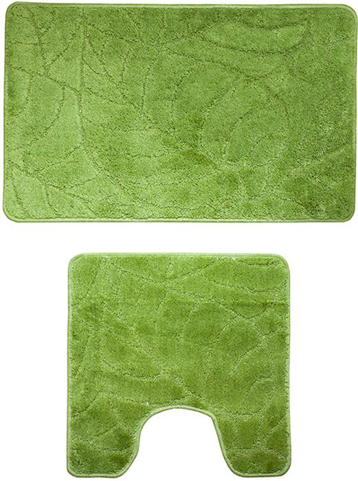 """Набор ковриков для ванной комнаты Milardo """"Summer heights"""", цвет: зеленый, 2 шт"""