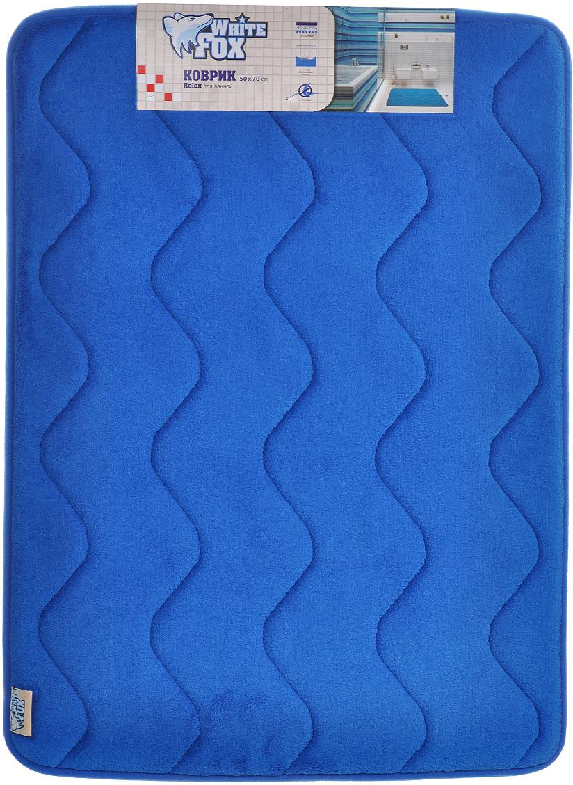 Коврик для ванной White Fox Relax. Волна, цвет: синий, 50 х 70 см цена