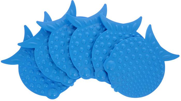 """Набор мини-ковриков для ванной """"Перламутровая рыба"""", цвет в ассортименте, 6 шт"""