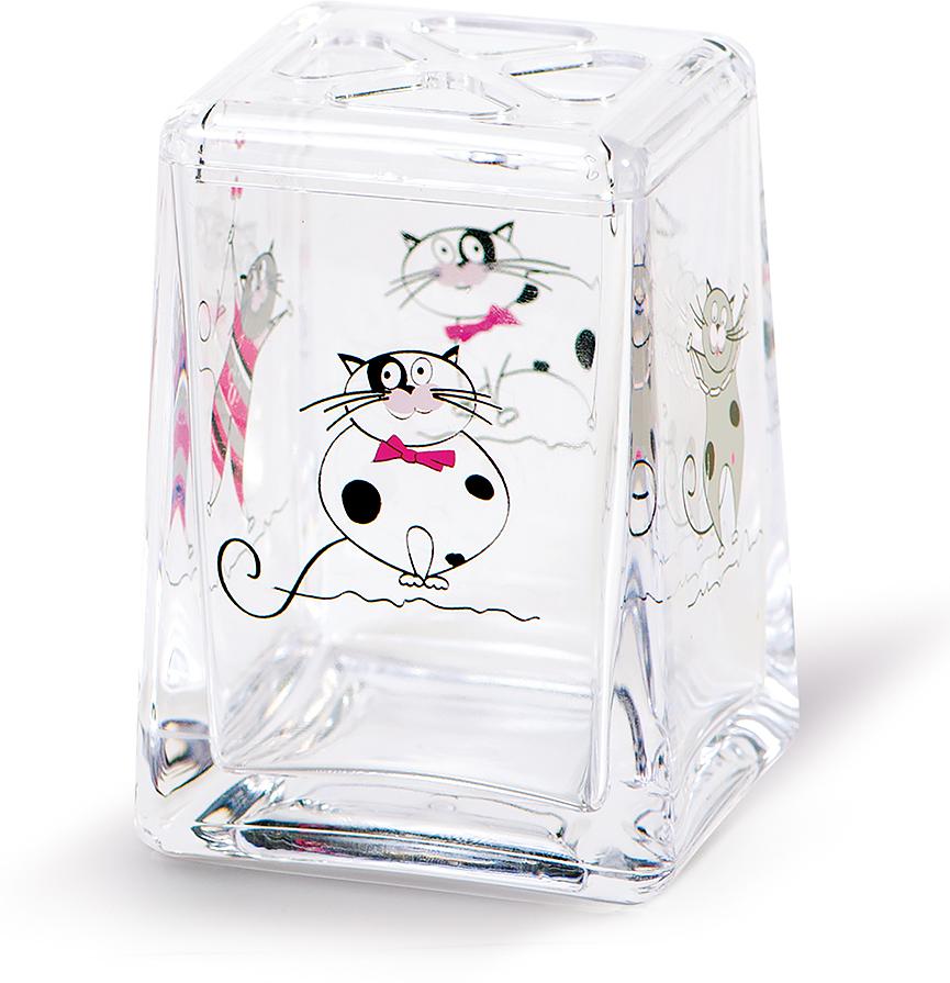 Стакан для зубных щеток Tatkraft Funny Cats стакан для зубных щеток tatkraft immanuel olive цвет серый коричневый