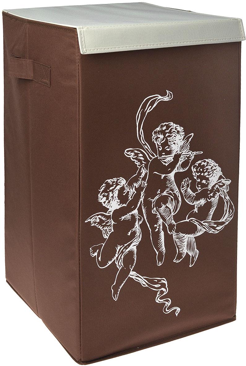 цена на Корзина для белья Hausmann, цвет: коричневый, 35 x 35 x 64 см
