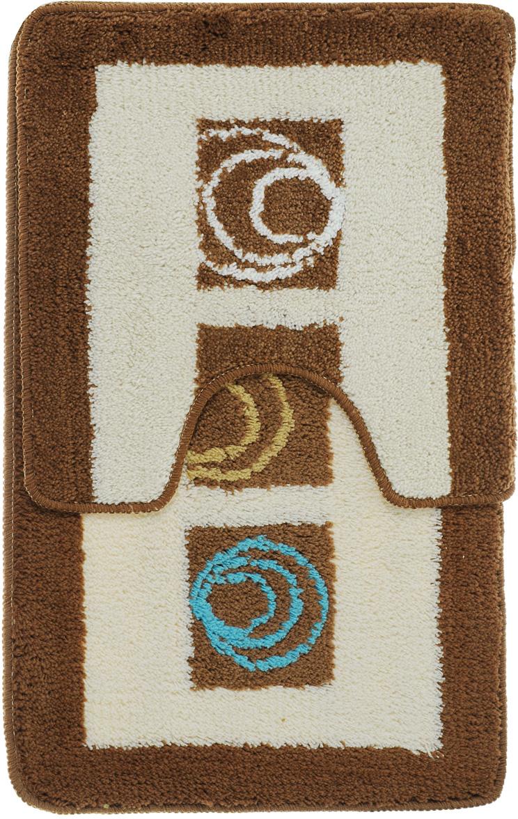 """Комплект ковриков для ванной Fresh Code """"Микс"""", цвет: коричневый, белый, 2 предмета"""