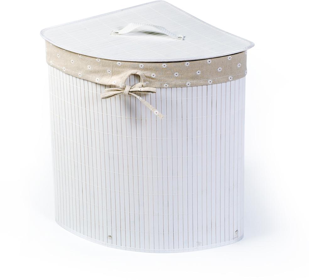 Корзина для белья Tatkraft Virginia, угловая, цвет: белый, 35 х 35 х 50 см 11847 корзина подвесная tatkraft on двухуровневая 25 х 12 х 47 см