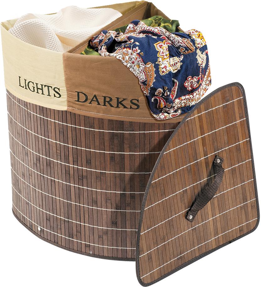 Корзина для белья Tatkraft Monako, угловая, цвет: коричневый, 35 см х 35 см х 50 см корзина подвесная tatkraft on двухуровневая 25 х 12 х 47 см