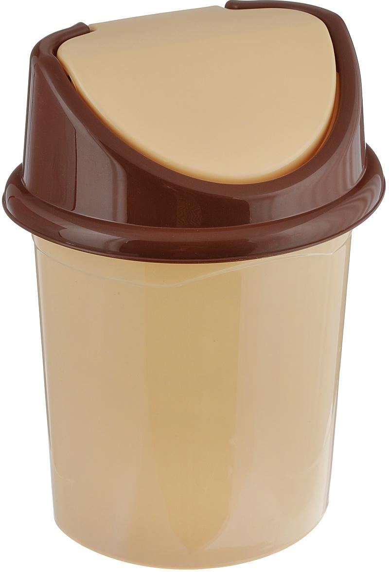 Контейнер для мусора Violet, цвет: бежевый, коричневый, 4 л контейнер для мусора violet дерево цвет коричневый желтый 4 л