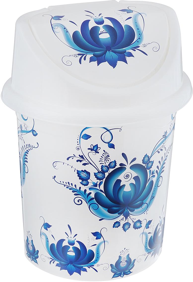 Контейнер для мусора Violet Гжель, цвет: белый, синий, 4 л контейнер для мусора violet дерево цвет коричневый желтый 4 л