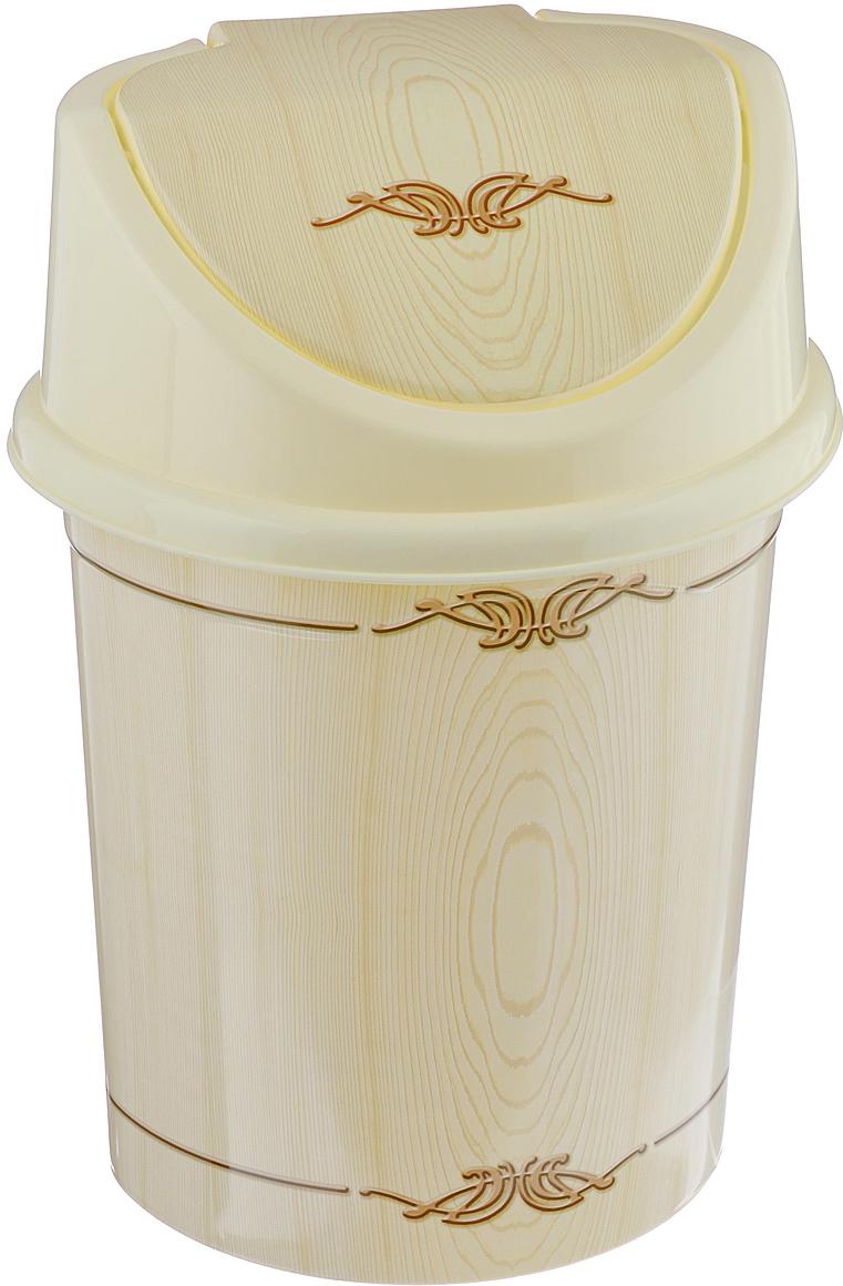 Контейнер для мусора Violet Беленый дуб, цвет: слоновая кость, коричневый, 4 л контейнер для мусора violet дерево цвет коричневый желтый 4 л