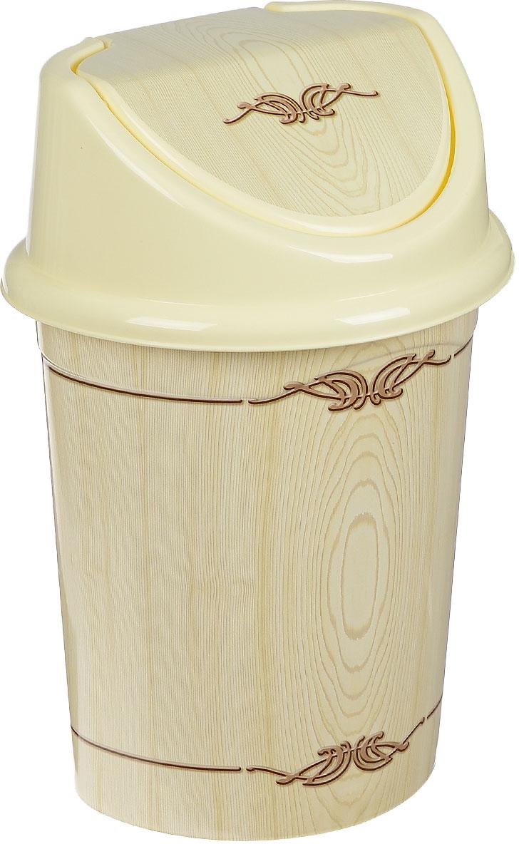 Контейнер для мусора Violet Беленый дуб, цвет: слоновая кость, коричневый, 14 л контейнер для мусора violet дерево цвет коричневый желтый 4 л