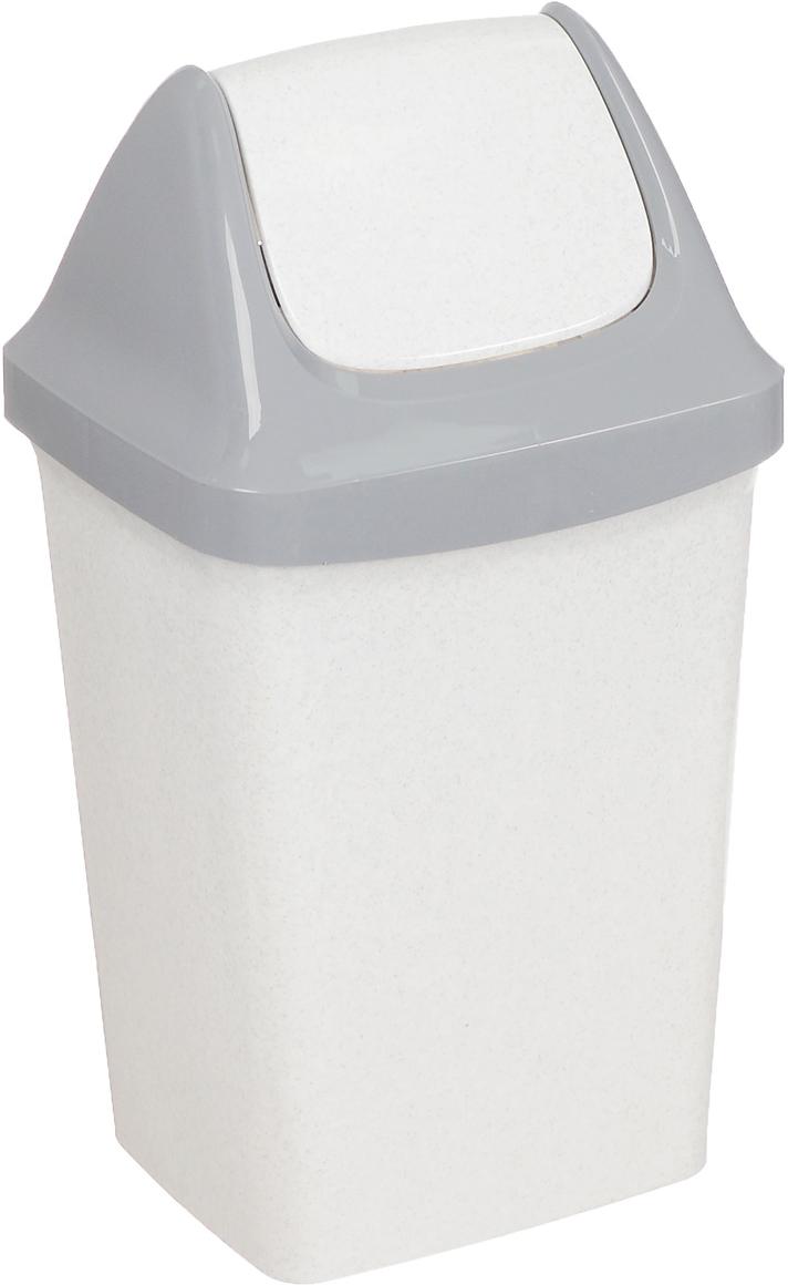 Контейнер для мусора Idea Свинг, цвет: белый мрамор, 25 л контейнер для мусора idea хапс цвет коричневый мрамор 15 л