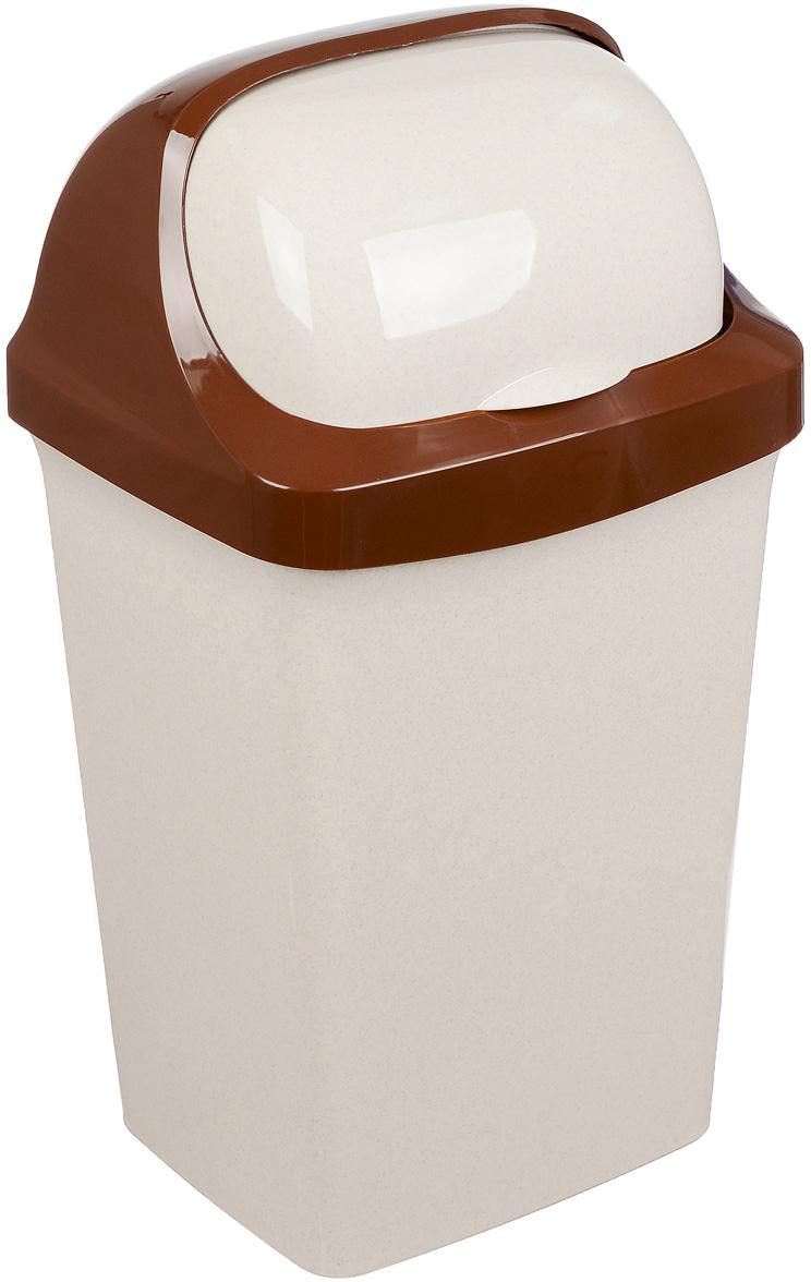 Контейнер для мусора Idea Ролл Топ, цвет: бежевый мрамор, 25 л контейнер для мусора idea хапс цвет коричневый мрамор 15 л