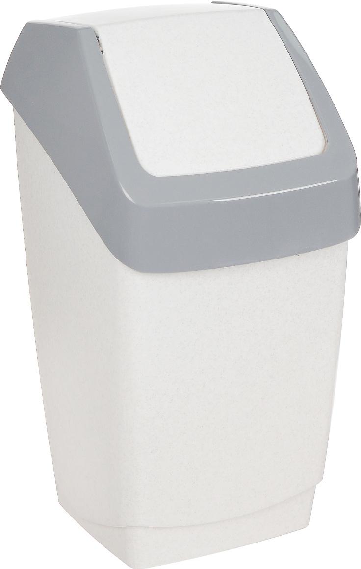 Контейнер для мусора Idea Хапс, цвет: белый мрамор, 15 л контейнер для мусора idea хапс цвет коричневый мрамор 15 л