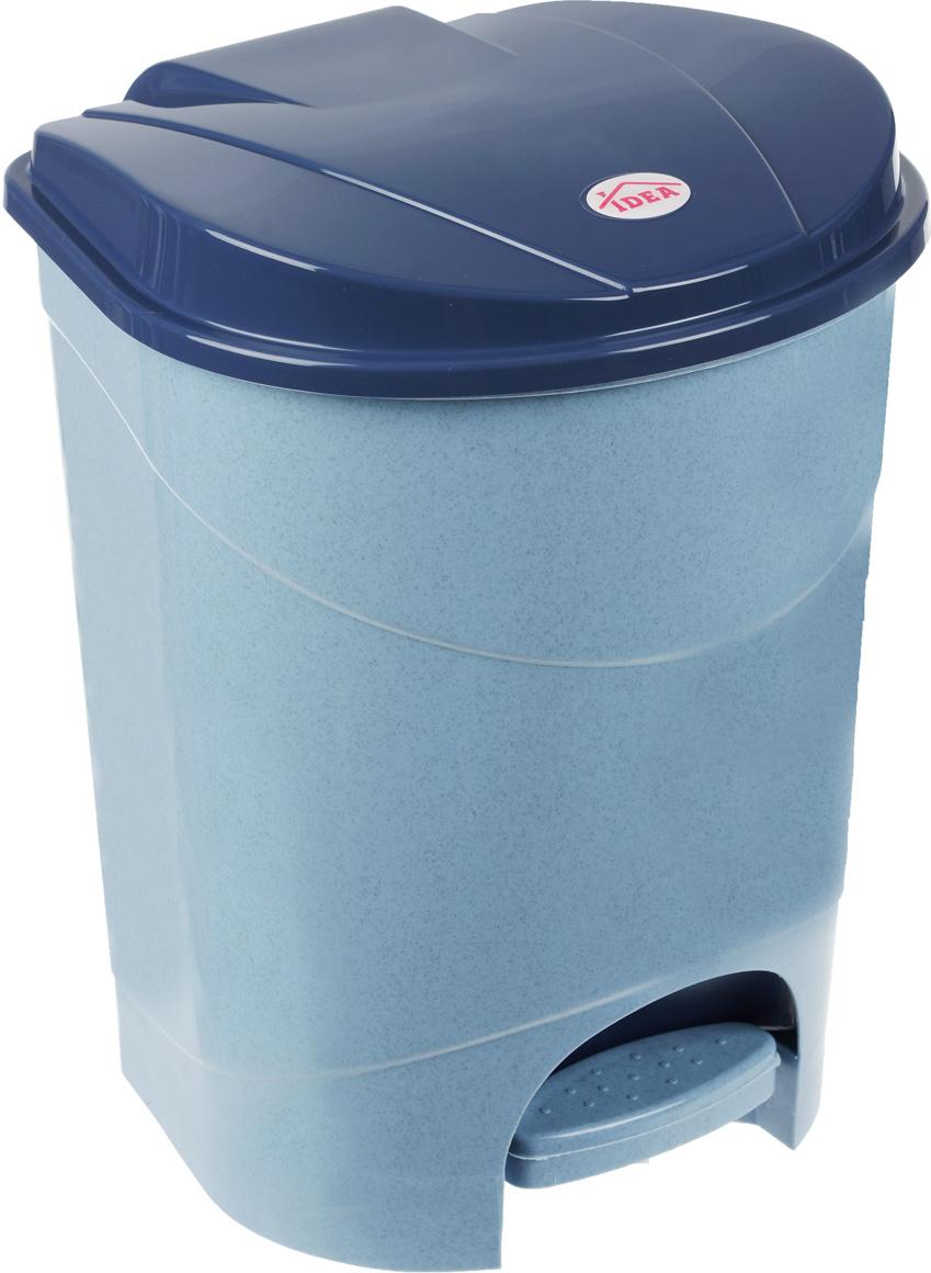 Контейнер для мусора Idea, с педалью, цвет: голубой мрамор, 11 л контейнер для мусора idea хапс цвет коричневый мрамор 15 л