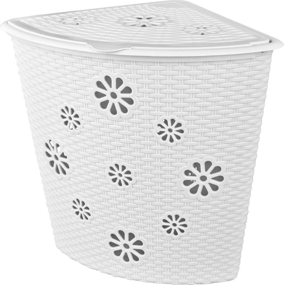 Корзина для белья Альтернатива Плетенка, угловая, цвет: белый, 45 л ершик для туалета альтернатива плетенка белый