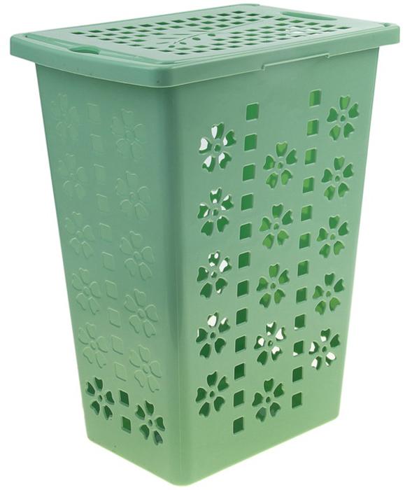 Корзина для белья Альтернатива Виолетта, цвет: зеленый, 30 л корзина для хранения альтернатива вдохновение цвет салатовый 26 5 х 16 5 х 10 см