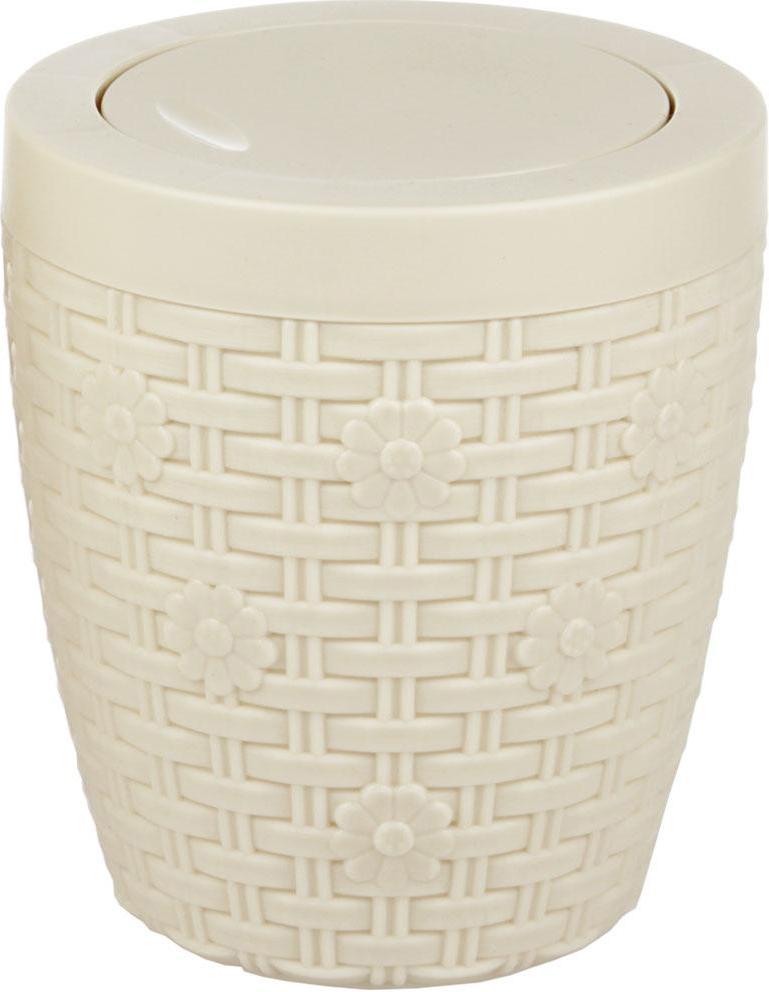 Контейнер для мусора Альтернатива Плетенка, цвет: слоновая кость, 1,5 л ершик для туалета альтернатива плетенка белый