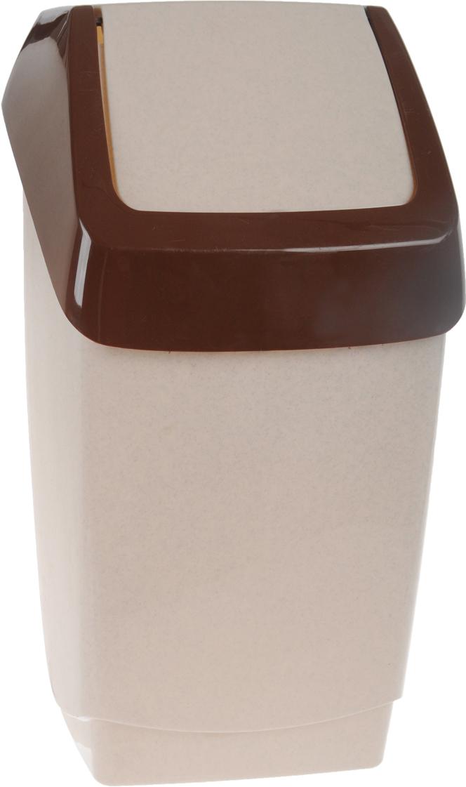 Контейнер для мусора Idea Хапс, цвет: коричневый мрамор, 15 л контейнер для мусора idea хапс цвет коричневый мрамор 15 л