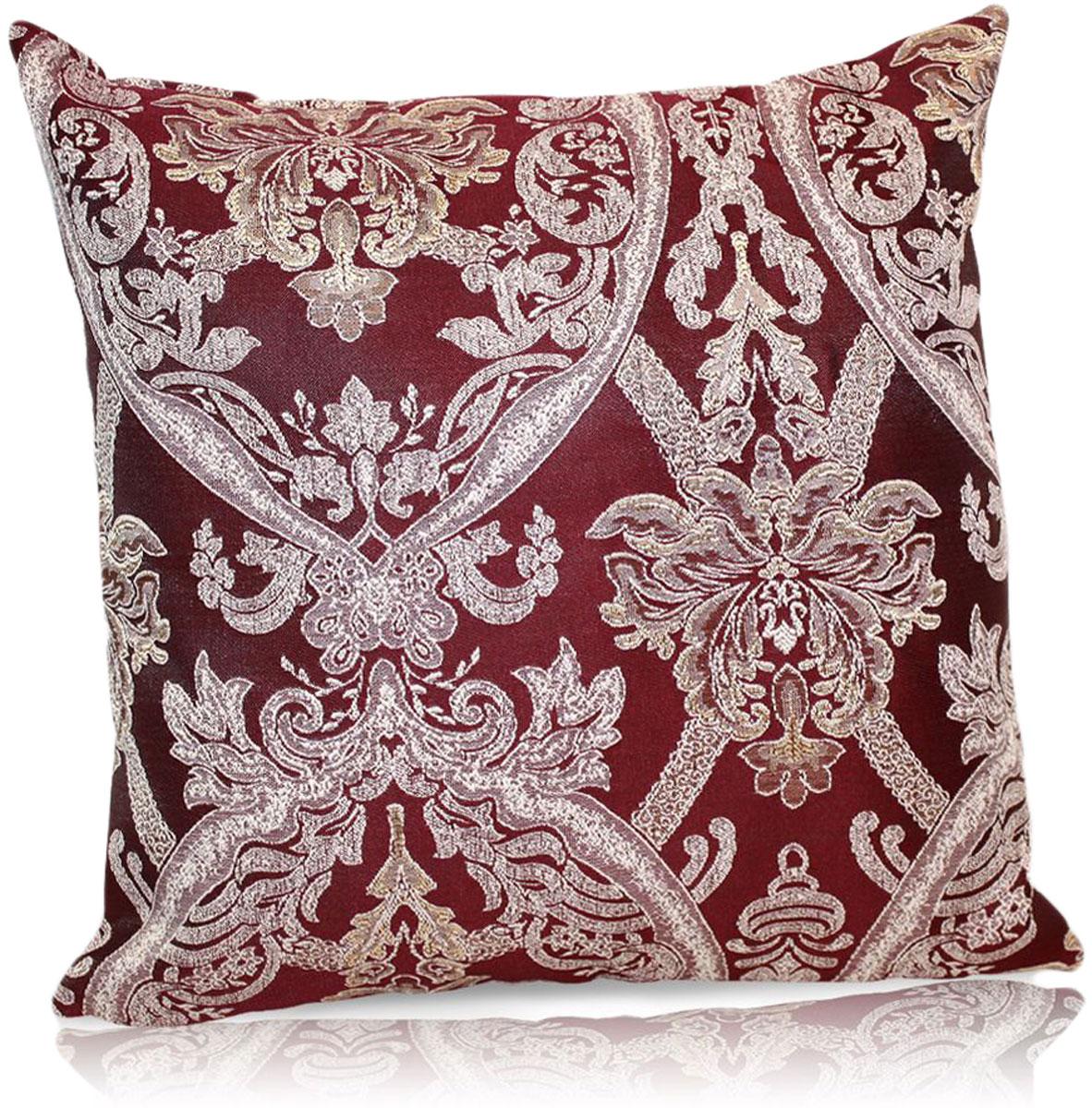 Подушка декоративная KauffOrt Мауритани, цвет: бордовый, 40 x 40 см подушка декоративная kauffort мауритани цвет бежевый 40 x 40 см