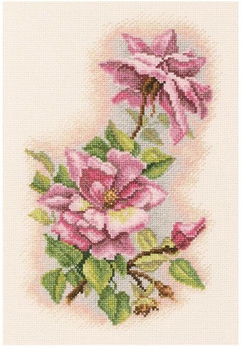 Набор для вышивания крестом RTO Шелковые розы, 16 х 24 см набор для вышивания крестом rto дом милый дом 34 х 27 см