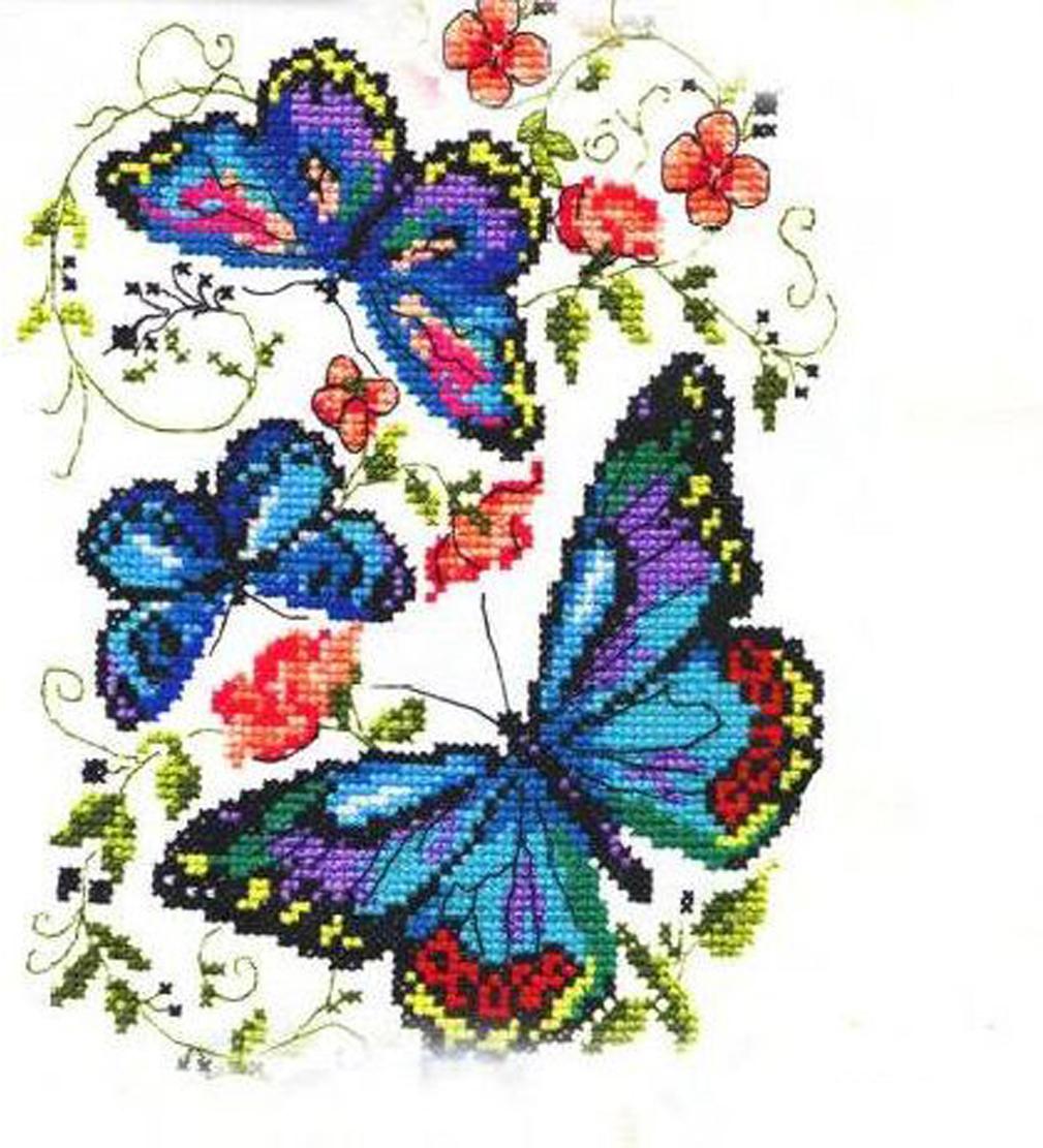 Набор для вышивания крестом Чудесная игла Синие бабочки, 15 х 18 см набор для вышивания крестом hobby
