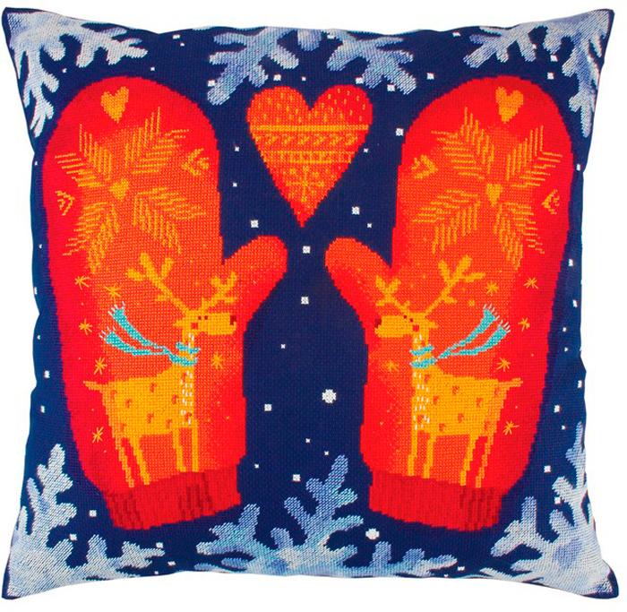 Набор для вышивания подушки РТО Варежки, 40 х 40 см набор для вышивания подушки vervaco белая лилия 40 см х 40 см