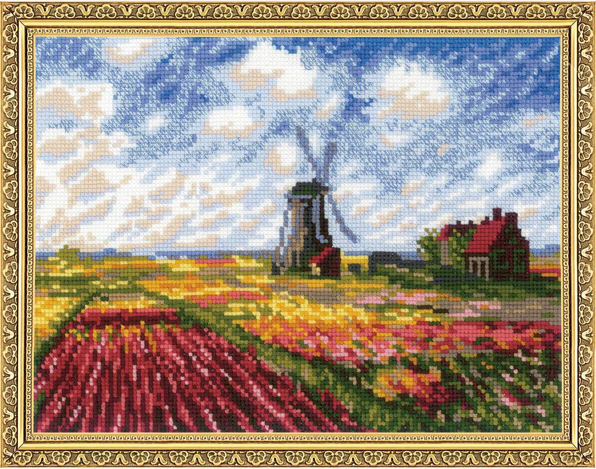 Набор для вышивания крестом Риолис Поле с тюльпанами, 33 х 25 см тетрадь для нот моне поле маков