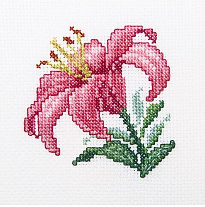Набор для вышивания крестом RTO Розовая лилия, 10 х 10 см набор для вышивания крестом rto котенок с подарком 10 х 10 см
