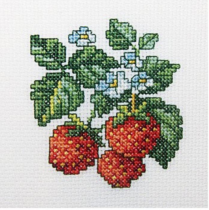 Набор для вышивания крестом Земляника, 10 см х 10 см набор для вышивания крестом rto забавный микки 8 х 8 см