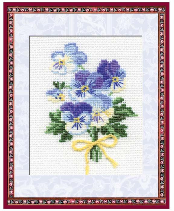 Набор для вышивания крестом Riolis Анютины глазки, 13 х 16 см набор для вышивания крестом riolis березы 26 х 38 см