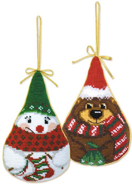 """Набор для вышивания крестом Riolis """"Новогодние игрушки. Снеговик и медведь"""", 8 см х 13 см"""