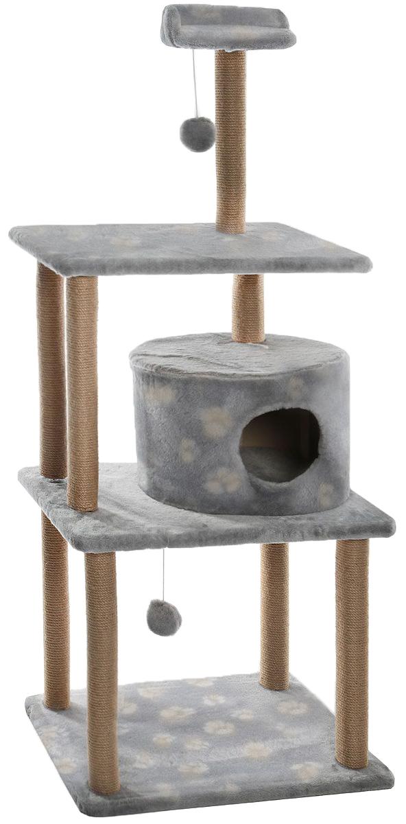 Домик-когтеточка Меридиан Лапки, круглый, с двумя игрушками, 65 х 50 х 153 см домик когтеточка меридиан угловой с игрушками цвет светло серый 65 х 41 х 131 см