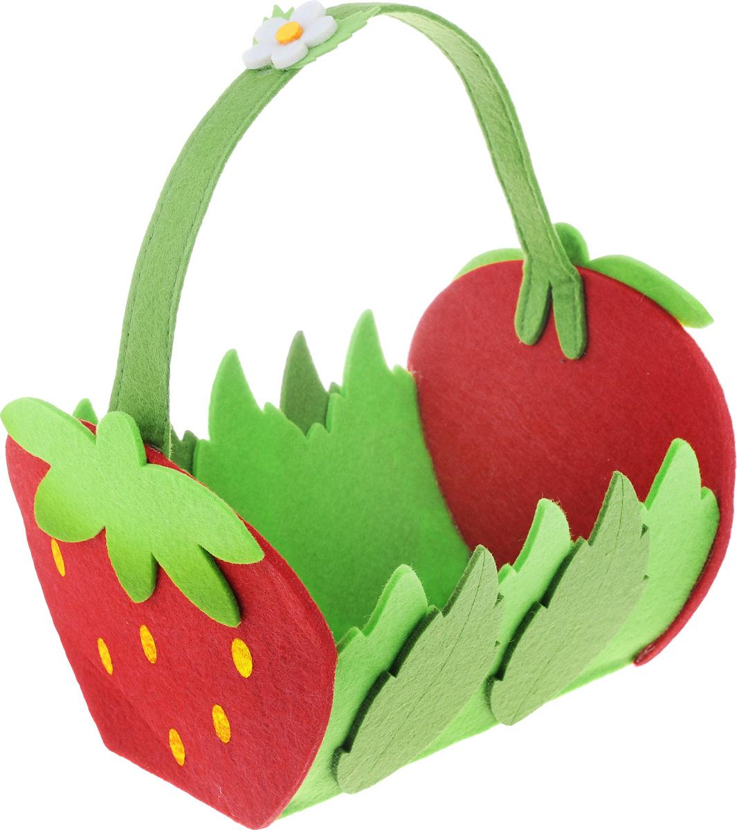 Декоративное украшение RTO Корзинка, цвет: красный, зеленый, 23 х 19 х 15 см изделие декоративное корзинка d 16см h 29см упаковочный пакет