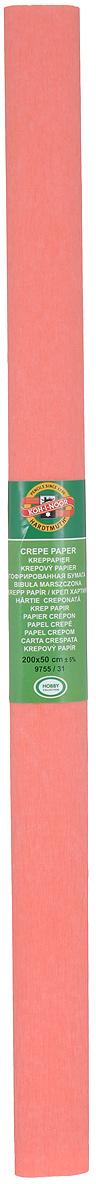 Бумага гофрированная Koh-I-Noor, цвет: коралловый, 50 см x 2 м бумага гофрированная koh i noor цвет голубой 50 см x 2 м