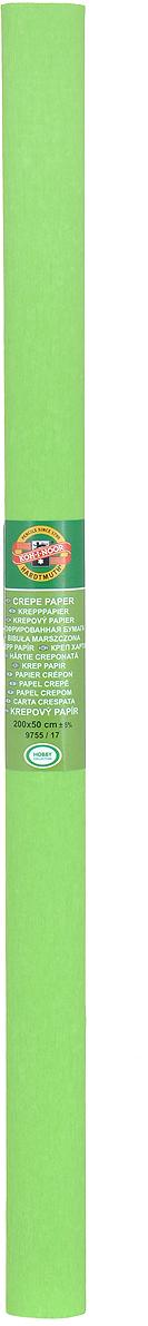 Бумага гофрированная Koh-I-Noor, цвет: светло-зеленый, 50 см x 2 м бумага гофрированная koh i noor цвет голубой 50 см x 2 м