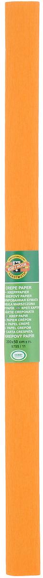 Бумага гофрированная Koh-I-Noor, цвет: светло-оранжевый, 50 см x 2 м бумага гофрированная koh i noor цвет голубой 50 см x 2 м
