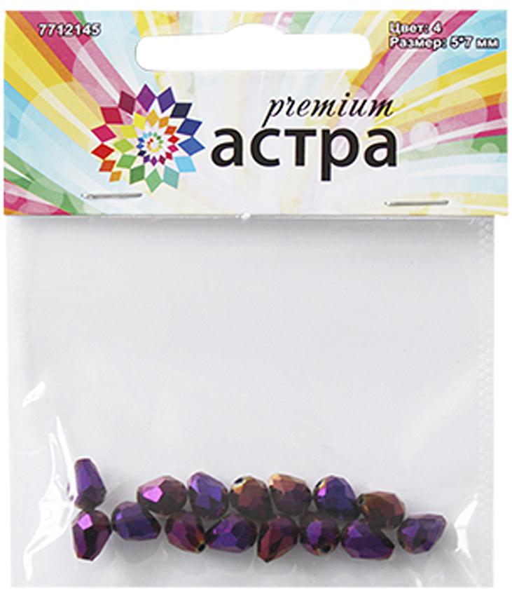 Бусины Астра Premium, цвет: фиолетовый (4), 5 мм х 7 мм, 15 шт корм eukanuba для кошек для выведения комков шерсти 2 кг
